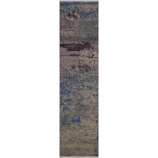 "Modern Abstract Sinclair Green/Blue Wool Runner -1'11 x 6'2 - 1'11"" x 6'2"""