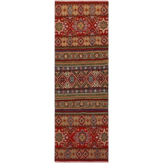 "Khurgeen Spurlock Red/Blue Wool Runner -2'7 x 6'2 - 2'7"" x 6'2"""
