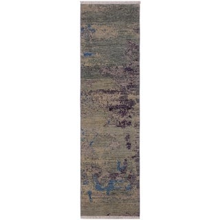 "Modern Abstract Sturgeon Green/Blue Wool Runner -2'1 x 6'10 - 2'1"" x 6'10"""