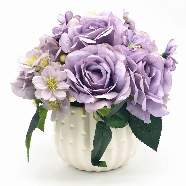Enova Home Purple Open Rose and Mixed Silk Artificial Flower Arrangement With White Ceramic Vase