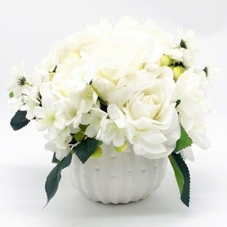 Enova Home Cream Open Rose and Mixed Silk Artificial Flower Arrangement With White Ceramic Vase