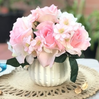 Enova Home Pink Cream Open Rose and Mixed Silk Artificial Flower Arrangement With White Ceramic Vase - pink and cream
