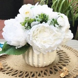 Enova Home Silk Artificial Peony Mixed Flower Arrangements With White Ceramic Vase