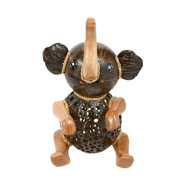 Handmade Cute Little Sitting Elephant Wood and Coconut Shell Animal Figurine (Thailand). Opens flyout.