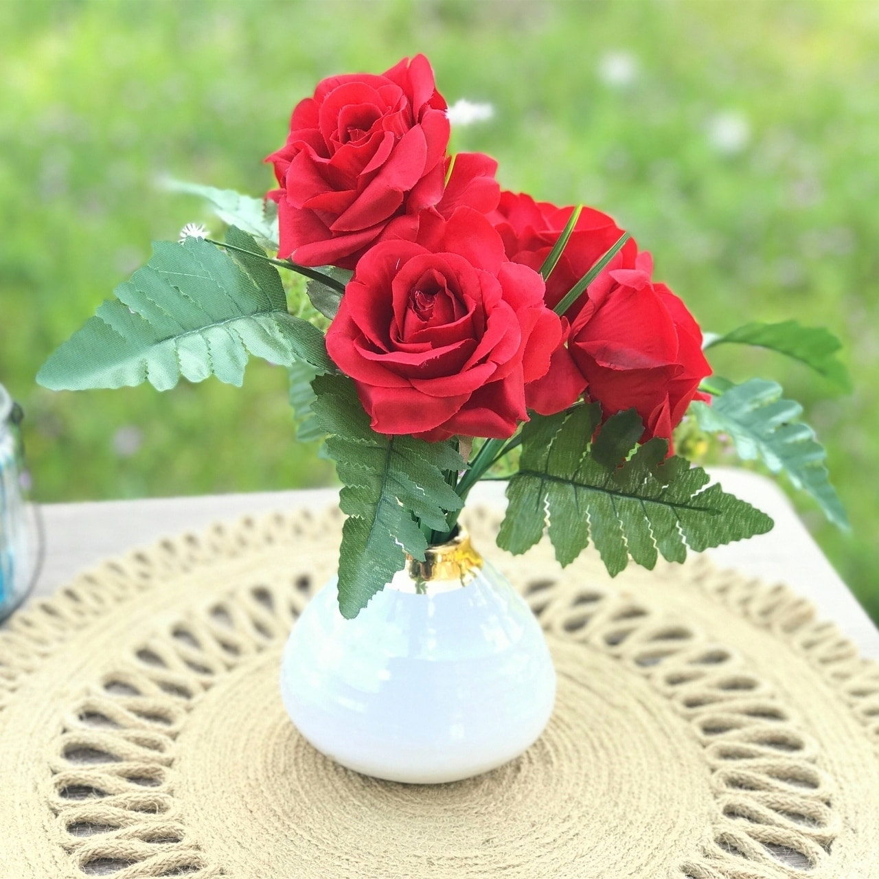 Enova Home Red Artificial Open Rose Mixed Flower Arrangement in White  Decoration Vase