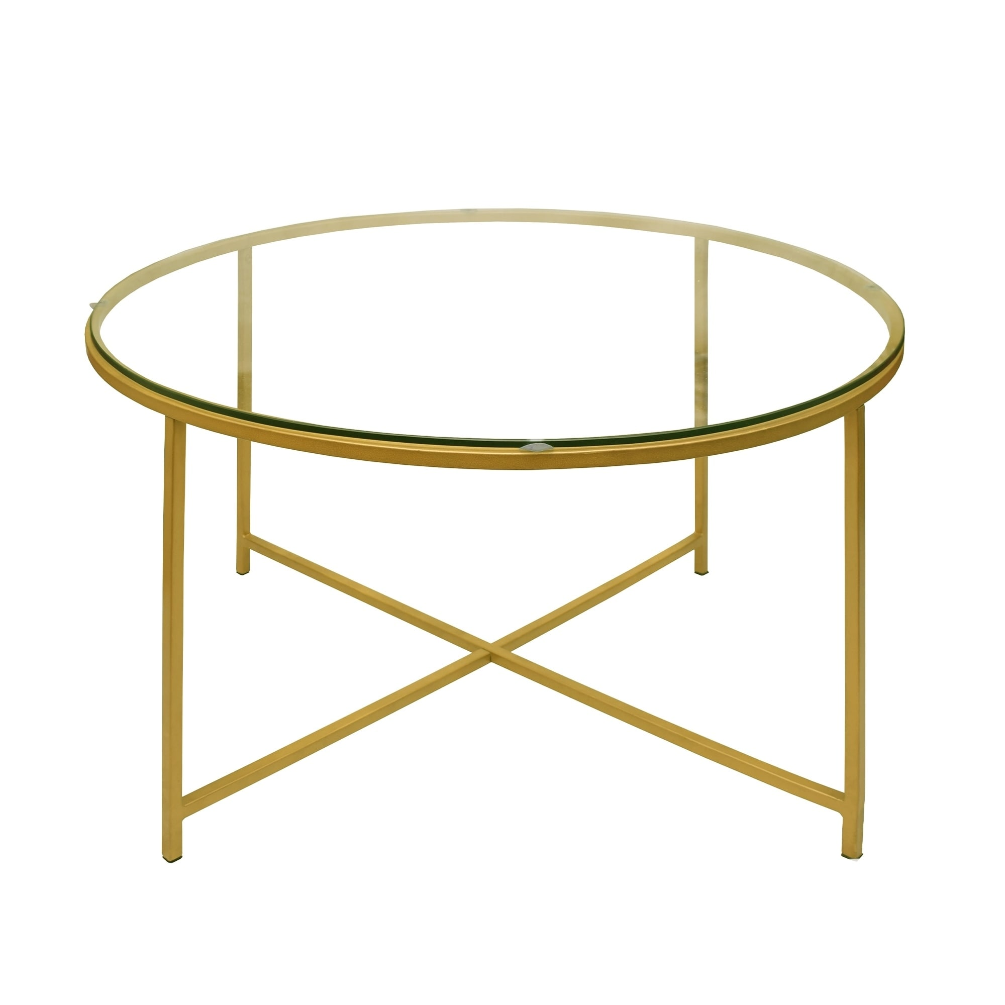 - Shop Round Metal Coffee Table With Glass Top And X Shape Base