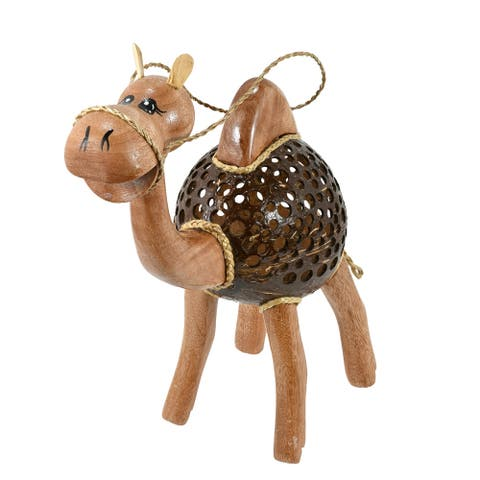 Handmade Adorable Happy Camel Hand Carved Wood and Coconut Shell Animal Figurine (Thailand)