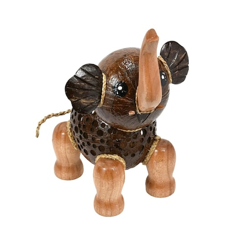 Handmade Adorable Happy Elephant Hand Carved Wood and Coconut Shell Animal Figurine (Thailand)