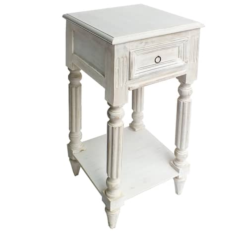 Spacious Mango Wood Side Table with Metal Ring Handle, Washed White