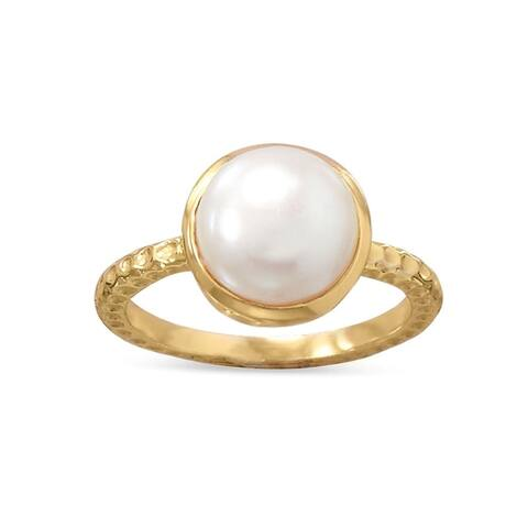 Sterling Silver Cultured Freshwater Pearl Ring in Gold Plating