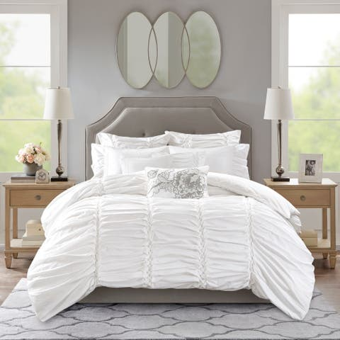 Madison Park Signature Gardenia White Oversized Duvet Style Cotton Comforter Set