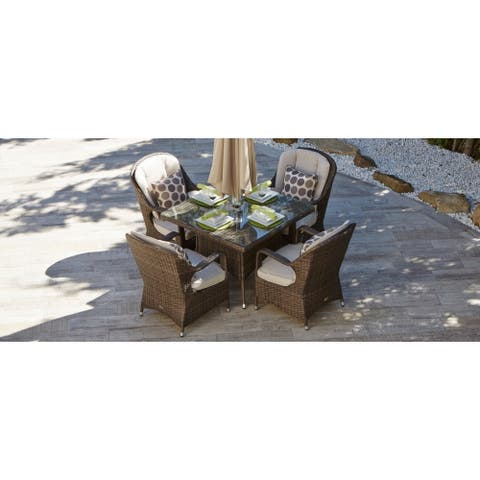 Direct Wicker Eton Chair Brown Wicker Square Seat Outdoor Mixed Dining Set (Set of 5)