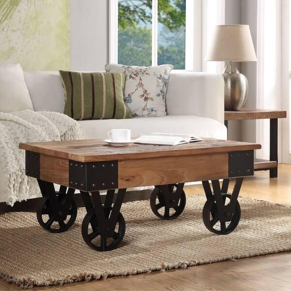 Carbon Loft Wyldeck Farmhouse Vintage Mobile Coffee Table