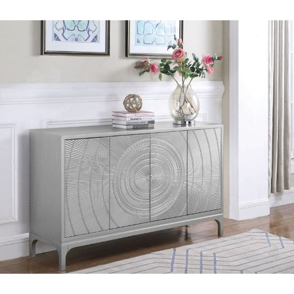 Shop Vita Contemporary 4 Door Silver Accent Cabinet Free
