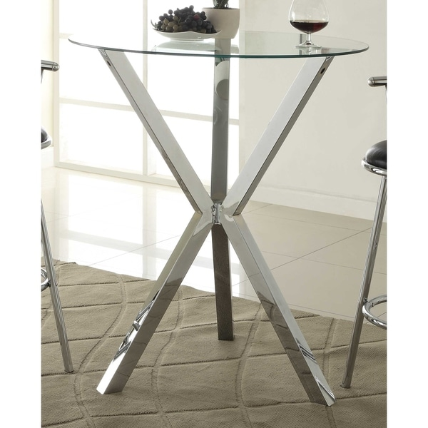 Lisette Contemporary Chrome Bar Table by Generic