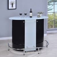 Hansen Contemporary Black and Chrome Bar Unit with Frosted Glass