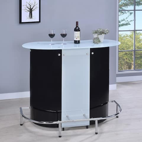 Porch & Den Feldspar Black and Chrome Bar Unit with Frosted Glass