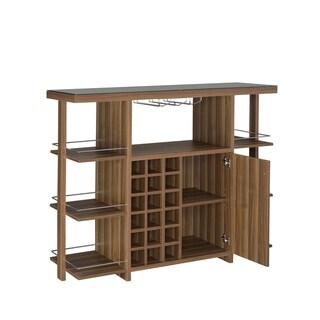 Remy Modern Walnut Bar Unit with Wine Bottle Storage