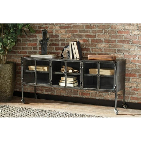 Shop Cunningham Industrial Black Metal Accent Cabinet
