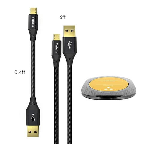Techoss 2 Pack Micro USB Data Cable with 2 Organizers