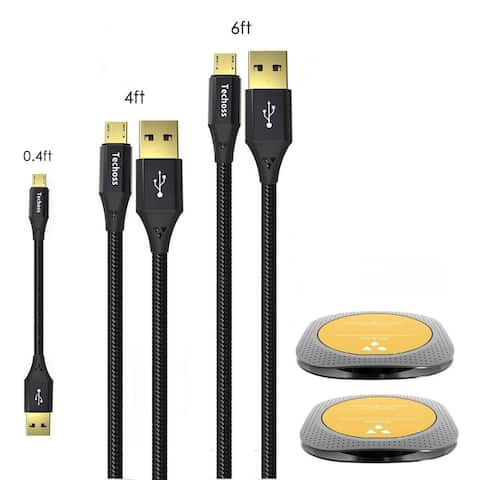 Techoss 3 Pack Fast Micro USB Data Cable with 2 Organizers