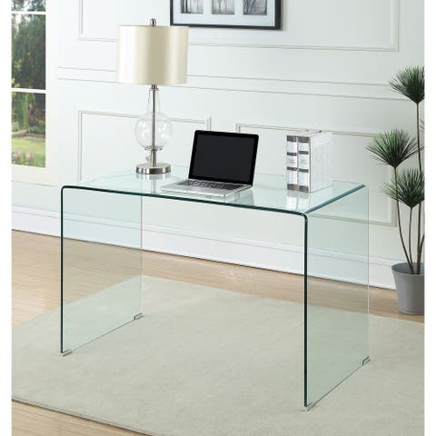 Strick & Bolton Kiyoto Clear Tempered Glass Writing Desk