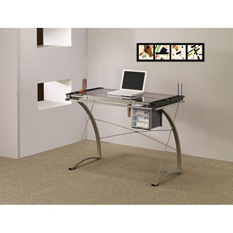 Losey Contemporary Glass Top Drafting Desk