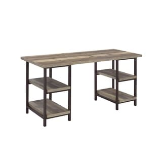 Smithers Industrial Weathered Pine Writing Desk