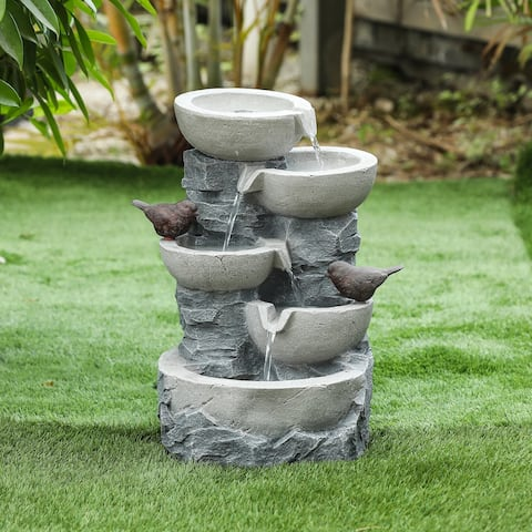 Havenside Home Polyresin Tiered Pots Outdoor Fountain