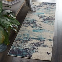 """Nourison Celestial Ivory/Teal Blue Abstract Area Rug - 2'2"""" x 10' Runner"""