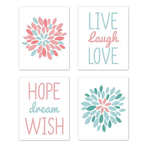 Sweet Jojo Designs Turquoise and Coral Floral Emma Collection Wall Decor Art Prints (Set of 4) - Live Laugh Love