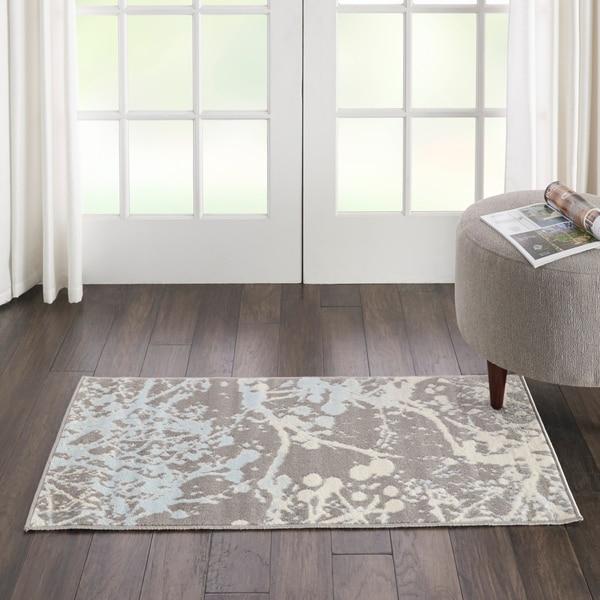Nourison Jubilant Paint Splatter Grey/Multicolor Area Rug - 2' x 4'