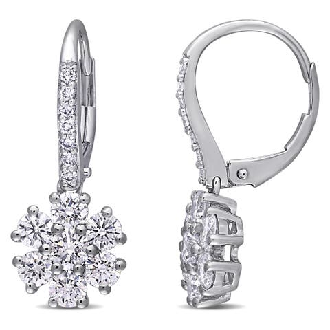 Eternally Yours 1 3/4ct TW Lab Created Diamond Flower Leverback Drop Earrings in 14k White Gold