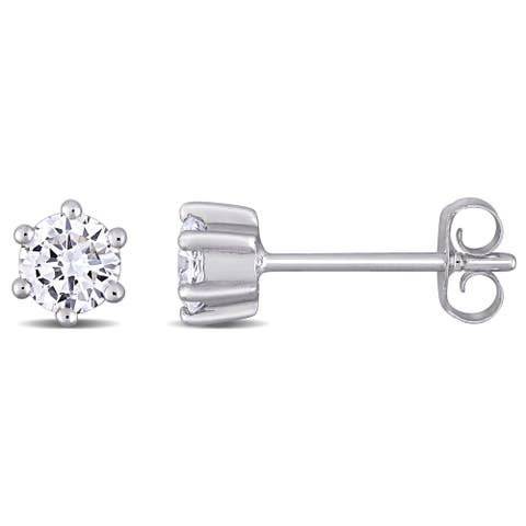 Eternally Yours 1/2ct TW Lab Created Diamond Solitaire Stud Earrings in 14k White Gold