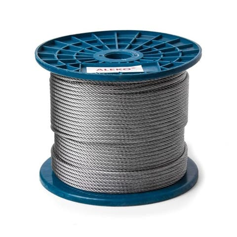 ALEKO Aircraft Galvanized Steel Cable Wire Rope - 3/16-Inch - 7 x 19 - 500 Feet