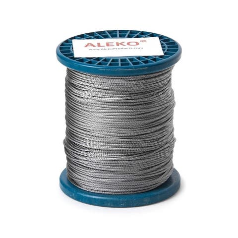 ALEKO Aircraft Galvanized Steel Cable Wire Rope - 1/16-Inch - 7 x 7 -500 Feet