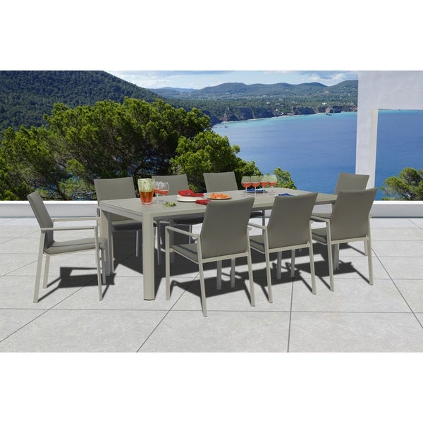 Ritz 9 Pc Dining Set - Fabric color_Ash Grey