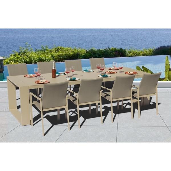 Ritz 9 Pc Dining Set - Fabric color: Pecan