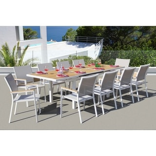 Link to Fort Severn Mouse Grey 11-piece Dining Set by Havenside Home Similar Items in Patio Furniture