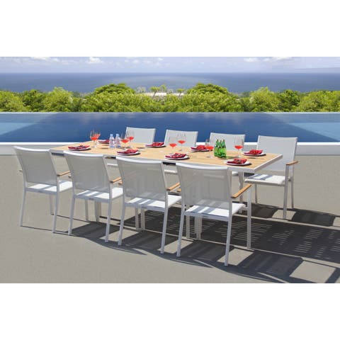Essence 9 Pc Dining Set - Fabric color_White