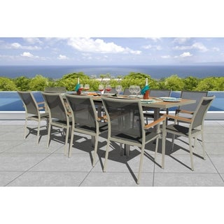 Link to Fort Severn Pewter 11-piece Dining Set by Havenside Home Similar Items in Patio Furniture
