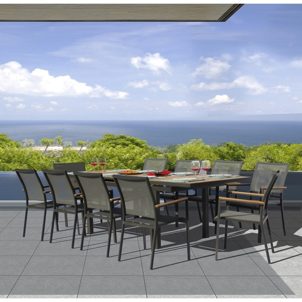 Essence 11-piece Pewter and Teak Outdoor Dining Set. Opens flyout.