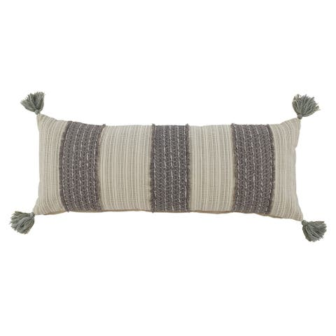 The Curated Nomad Grey Striped Throw Pillow