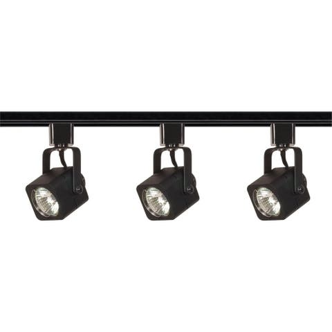 3-Light Track Kit Line Volt Sq Bk