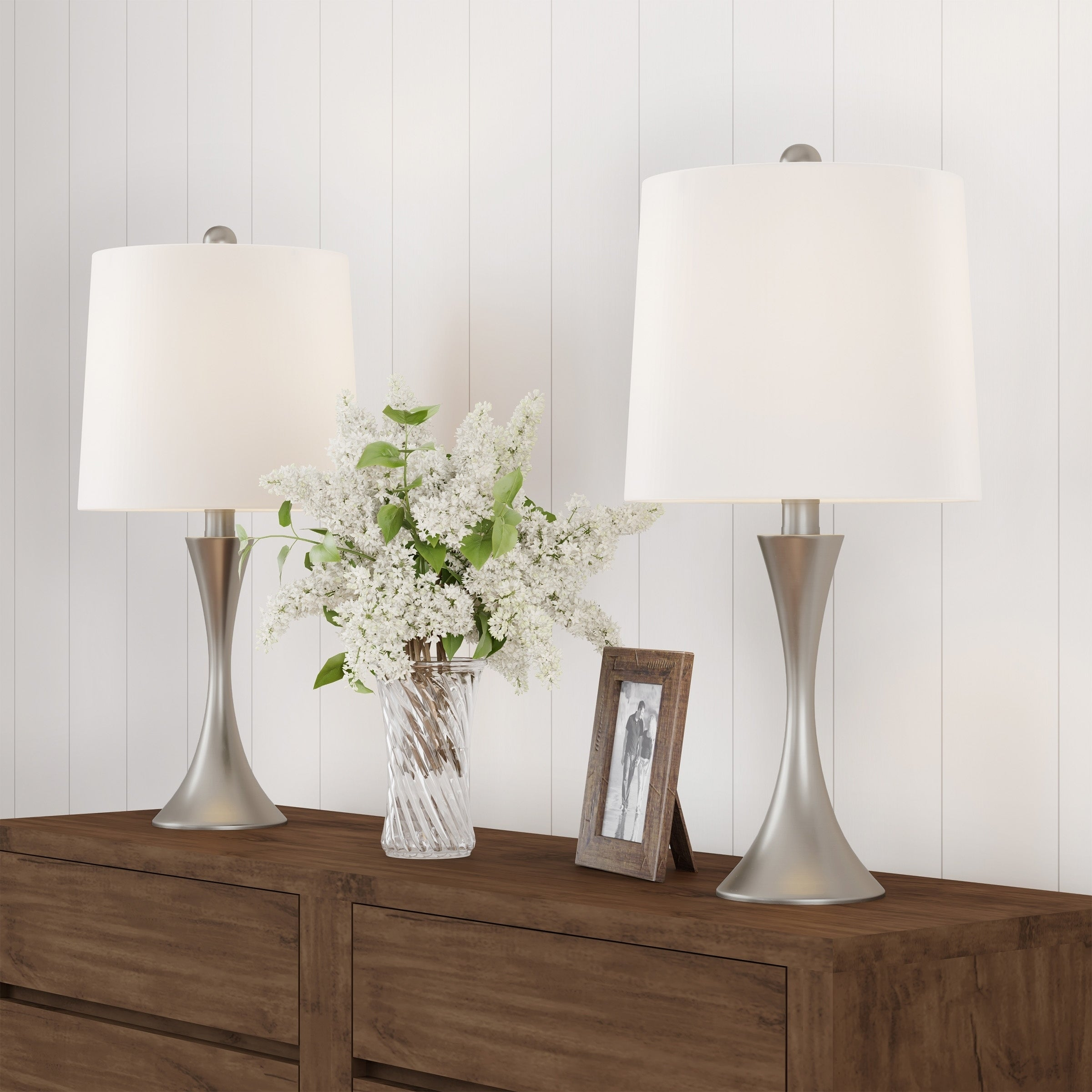 Image of: Shop Black Friday Deals On Table Lamps Set Of Mid Century Modern Silver Metal Flared Trumpet Base With Led Light Bulbs Included By Lavish Home Overstock 27871469