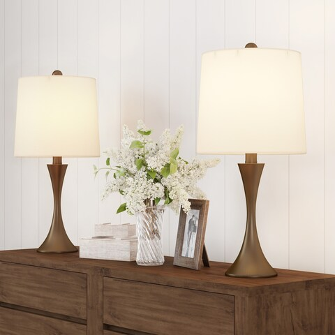 Table Lamps- Set of Mid-Century Modern Bronze Metal Flared Trumpet Base with LED Light Bulbs Included by Lavish Home
