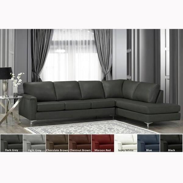 Shop Malibu Premium Top Grain Italian Leather Sectional Sofa ...