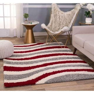 Porch & Den Manna Red and Grey Waves Shag Area Rug