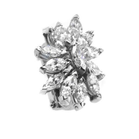 Platinum 8ct TDW Diamond Vintage Cluster Earrings (I-J,VS1-VS2)