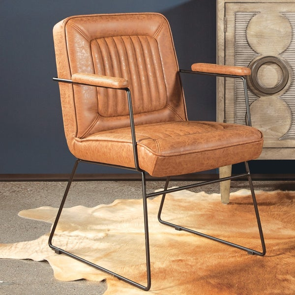 Carbon Loft Teigen Faux Leather Chair with Sled Base. Opens flyout.